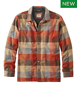 Men's Fleece-Lined Flannel Shirt, Snap Front, Slightly Fitted