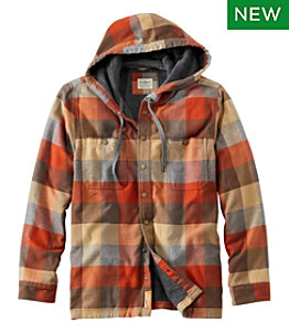 Men's Fleece-Lined Flannel Shirt, Hooded Snap Front, Slightly Fitted