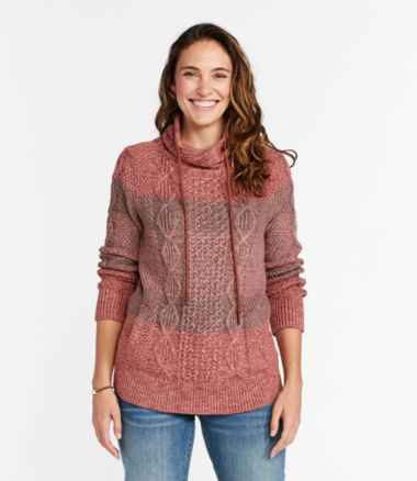 Women's Signature Cotton Funnelneck Sweater, Stripe