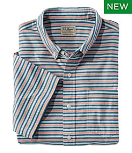 Men's Comfort Stretch Oxford, Slightly Fitted, Short-Sleeve, Stripe