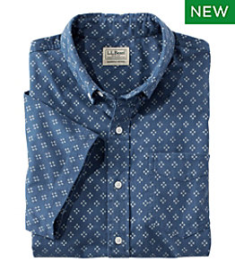 Men's Comfort Stretch Oxford, Slightly Fitted, Short-Sleeve, Print