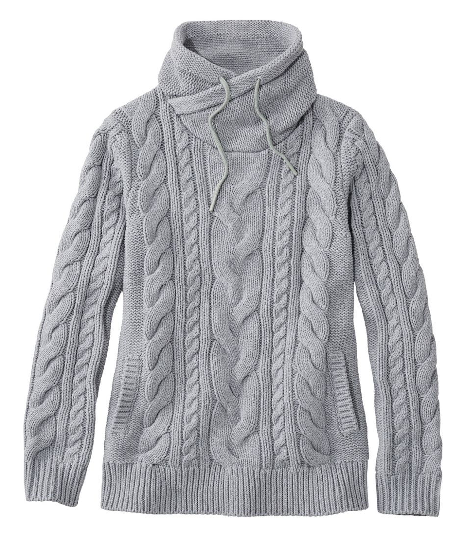 Women's Double L® Mixed-Cable Sweater, Funnelneck