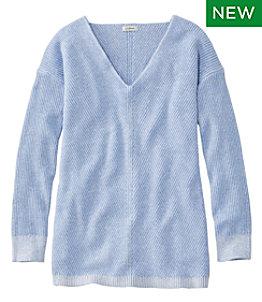 Women's Cotton Shaker Stitch Sweater, V-Neck