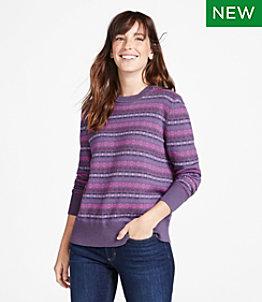 Women's Cotton/Cashmere Sweater, Crewneck Fair Isle