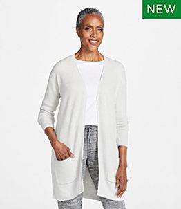 Women's Cotton Shaker-Stitch Sweater, Open Long Cardigan