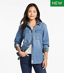 Women's L.L. Bean Heritage Washed Denim Shirt, Lined