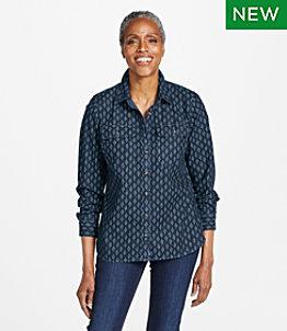 Women's L.L. Bean Heritage Washed Denim Shirt, Long-Sleeve Print
