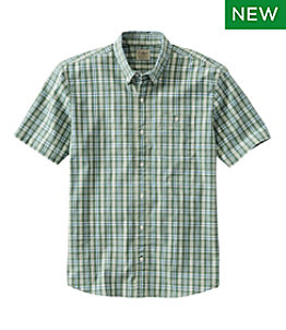 Men's Comfort Stretch Chambray Shirt, Traditional Untucked Fit, Short-Sleeve, Plaid