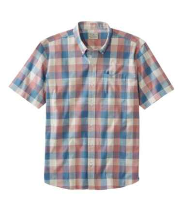 Men's Comfort Stretch Chambray Shirt, Traditional Fit, Short-Sleeve, Plaid