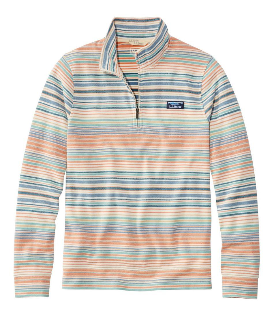 Men's Comfort Stretch Piqué Quarter Zip Pullover, Long-Sleeve, Stripe