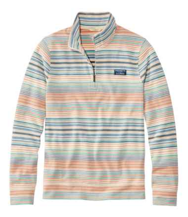Men's Comfort Stretch Piqué Quarter Zip Pullover, Long-Sleeve, Stripe