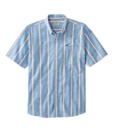 Men's Comfort Stretch Chambray Shirt, Traditional Untucked Fit, Short-Sleeve, Stripe