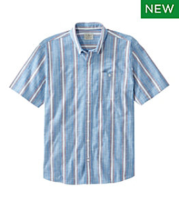 Men's Comfort Stretch Chambray Shirt, Traditional Fit, Short-Sleeve, Stripe