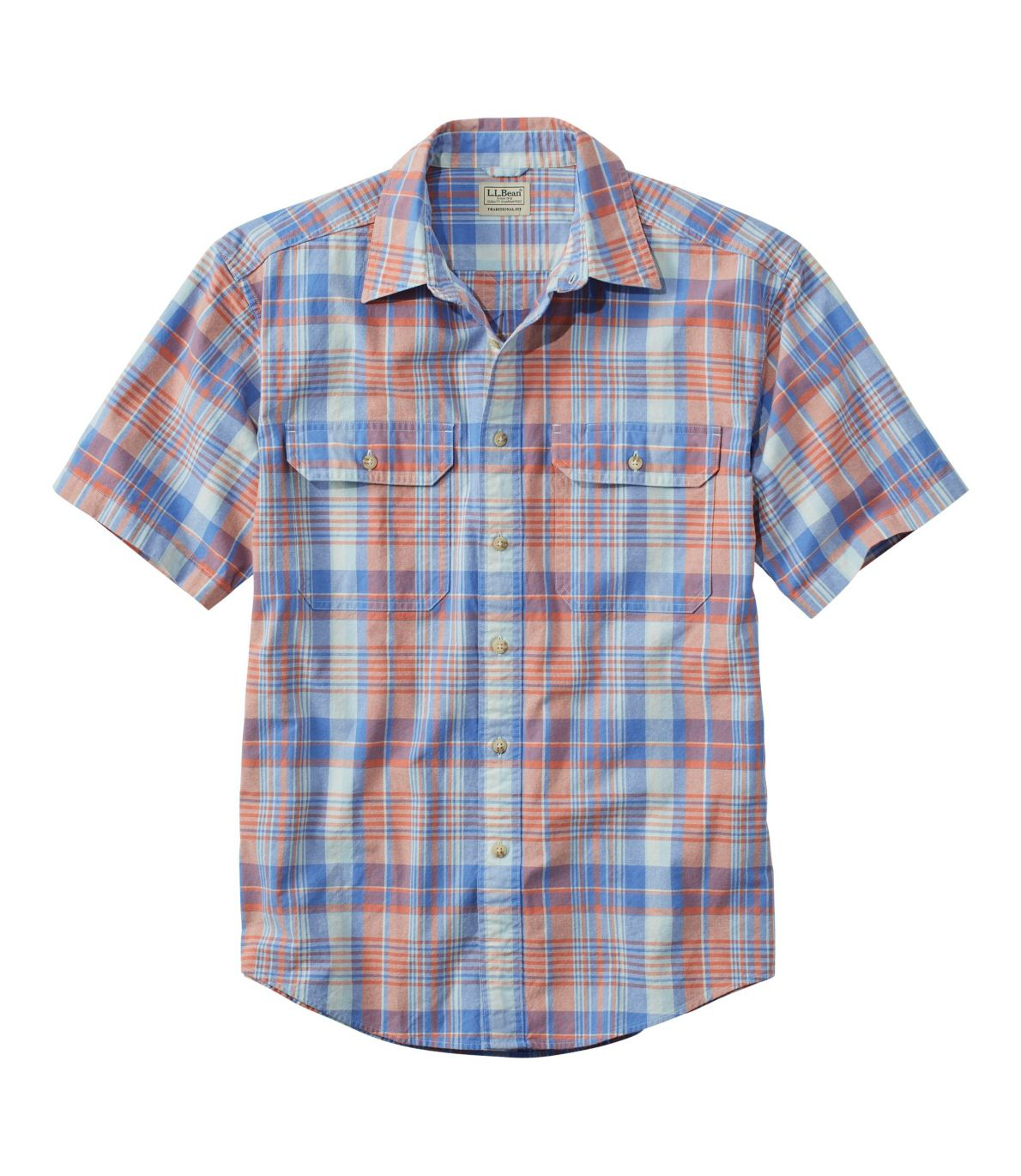 Sunwashed Canvas Shirt Short Sleeve Traditional Fit Plaid Men's Tall