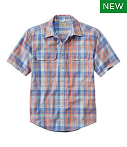 Men's Sunwashed Canvas Shirt, Short-Sleeve, Traditional Fit, Plaid