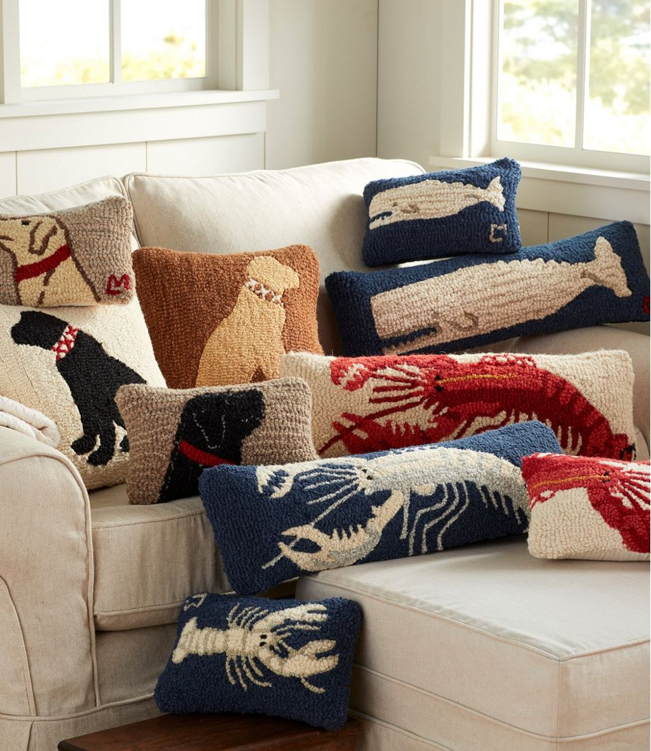 """Wool Hooked Throw Pillow, White Lobster, 8"""" x 24"""""""