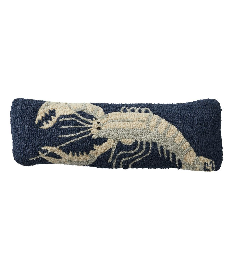 "Wool Hooked Throw Pillow, White Lobster, 8"" x 24"""