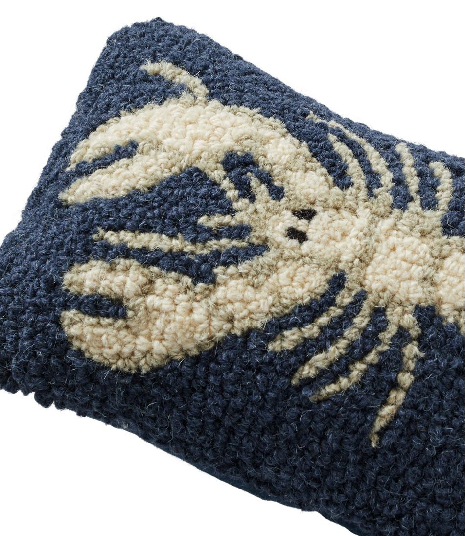 "Wool Hooked Throw Pillow, White Lobster, 8"" x 12"""