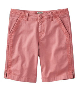 Women's Lakewashed Chino Shorts, Bermuda Embroidery