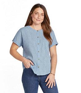 Women's Soft Organic Cotton Crinkle Shirt, Short-Sleeve Print