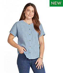 Women's Soft Cotton Crinkle Shirt, Short-Sleeve Print