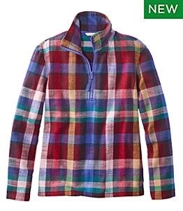 Women's Signature Heritage Textured Flannel Shirt, Quarter-Zip
