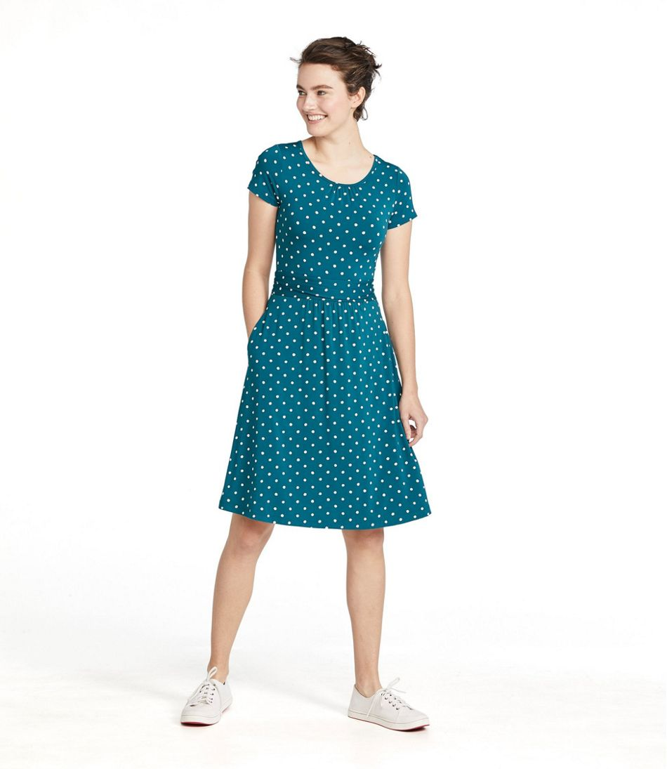 Women's Summer Knit Dress, Scoopneck Print