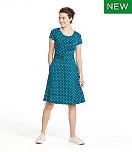Women's Summer Knit Dress, Scoopneck Print