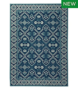 Indoor/Outdoor Floral Border Rug