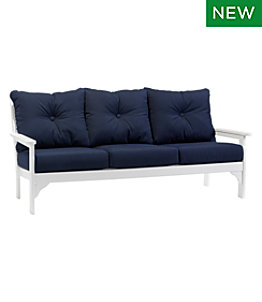 All-Weather Patio Sofa with Navy Cushion