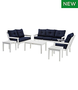 All-Weather 6-Piece Patio Set with Navy Cushion