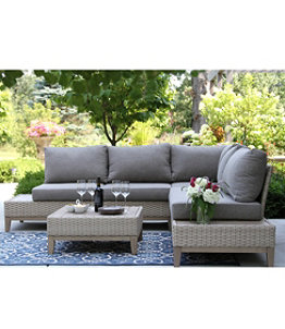"""Weather-Resistant Wicker 98"""" x 98"""" Sectional and Coffee Table Set"""