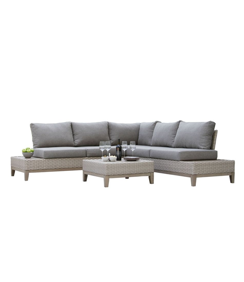 "Weather-Resistant Wicker 98"" x 98"" Sectional and Coffee Table Set"