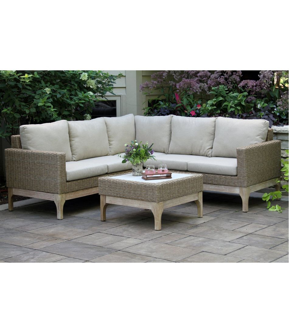 """Weather-Resistant Wicker 80"""" x 80"""" Sectional and Coffee Table Set"""