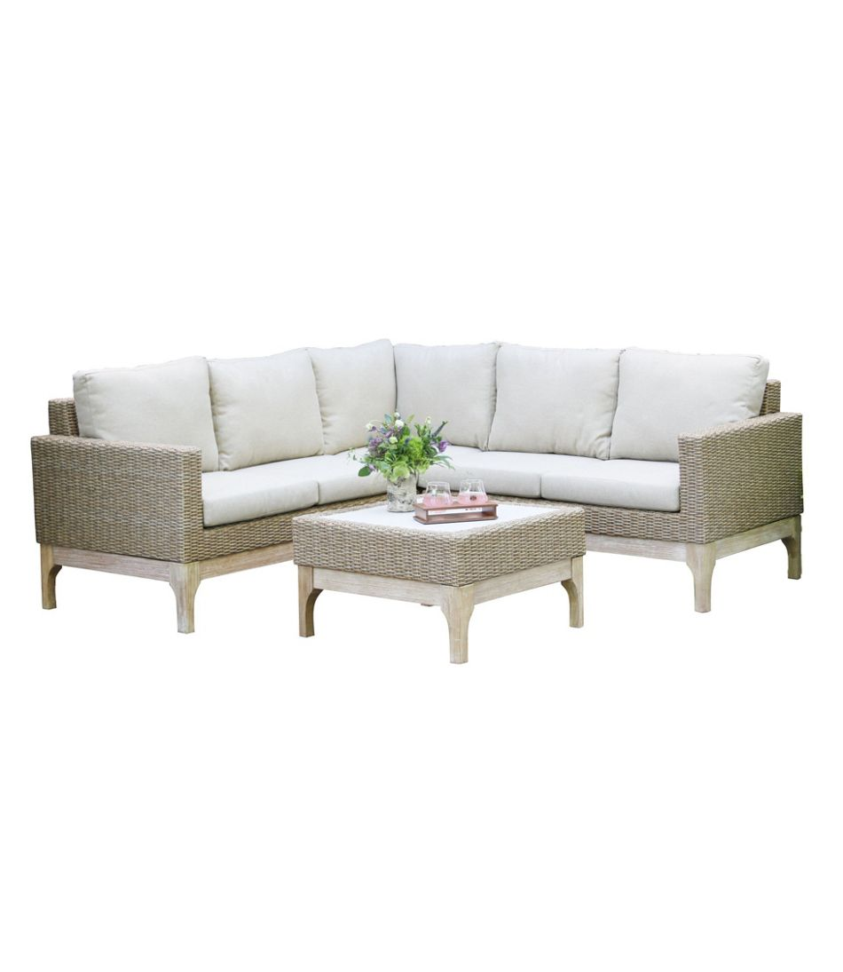 "Weather-Resistant Wicker 80"" x 80"" Sectional and Coffee Table Set"