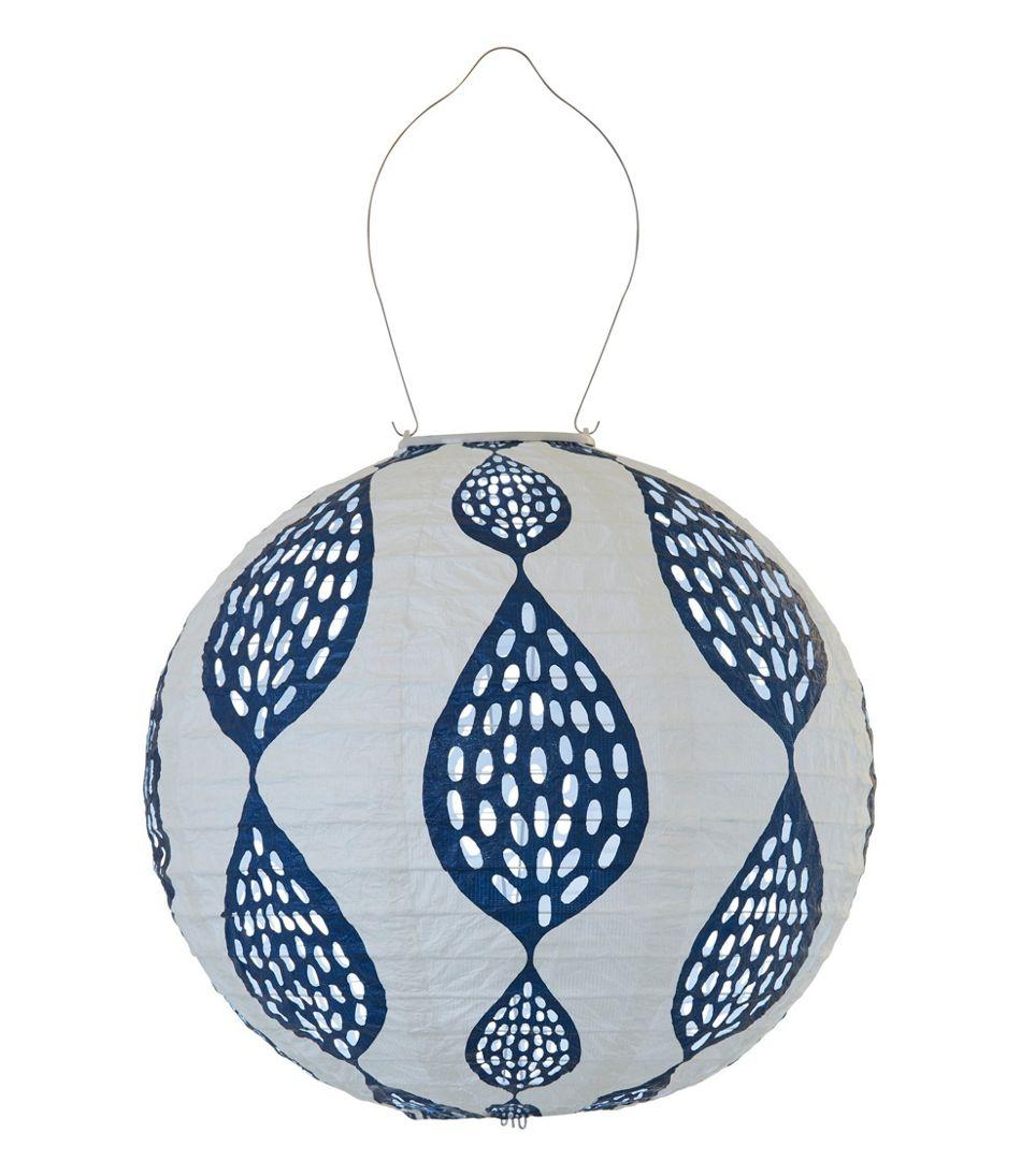 Indigo Leaf Print Solar Lantern