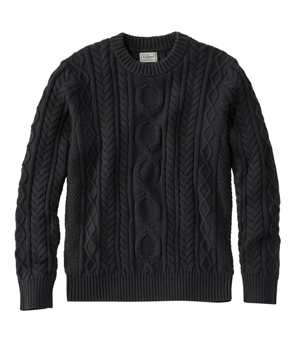 1920s Men's Sweaters, Cardigans, Knitwear Fisherman Sweater Black  AT vintagedancer.com