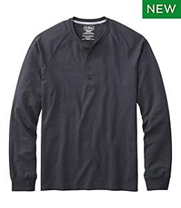Men's Comfort Stretch Pima Tee Shirt, Long-Sleeve Henley