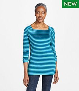 Women's Pima Cotton Tee, Long-Sleeve Squareneck Tunic Stripe