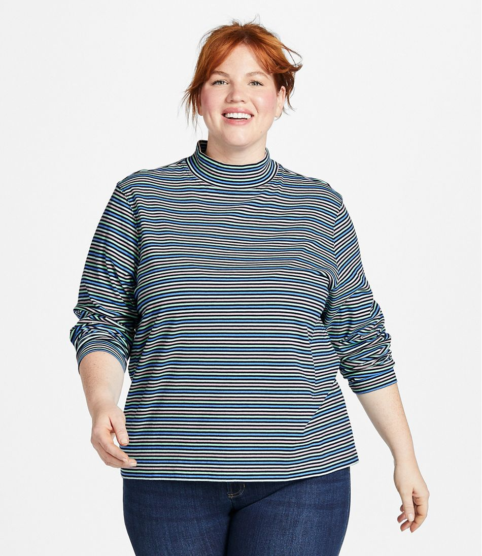 Women's Saturday T-Shirt, Long-Sleeve Mockneck Stripe