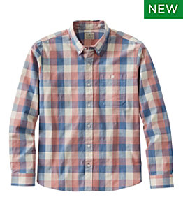 Men's Comfort Stretch Chambray Shirt, Traditional Untucked Fit, Long-Sleeve, Print