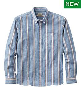Men's Comfort Stretch Chambray Shirt, Traditional Untucked Fit, Long-Sleeve, Stripe