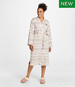Women's Lightweight Sweater Fleece Wrap Robe, Stripe