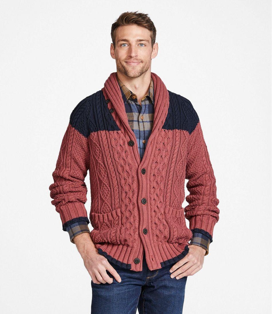 1960s Mens Shirts | 60s Mod Shirts, Hippie Shirts Mens Signature Cotton Fisherman Sweater Shawl-Collar Cardigan Colorblock  AT vintagedancer.com