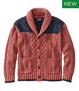 Men's Signature Cotton Fisherman Sweater, Shawl-Collar Cardigan, Colorblock