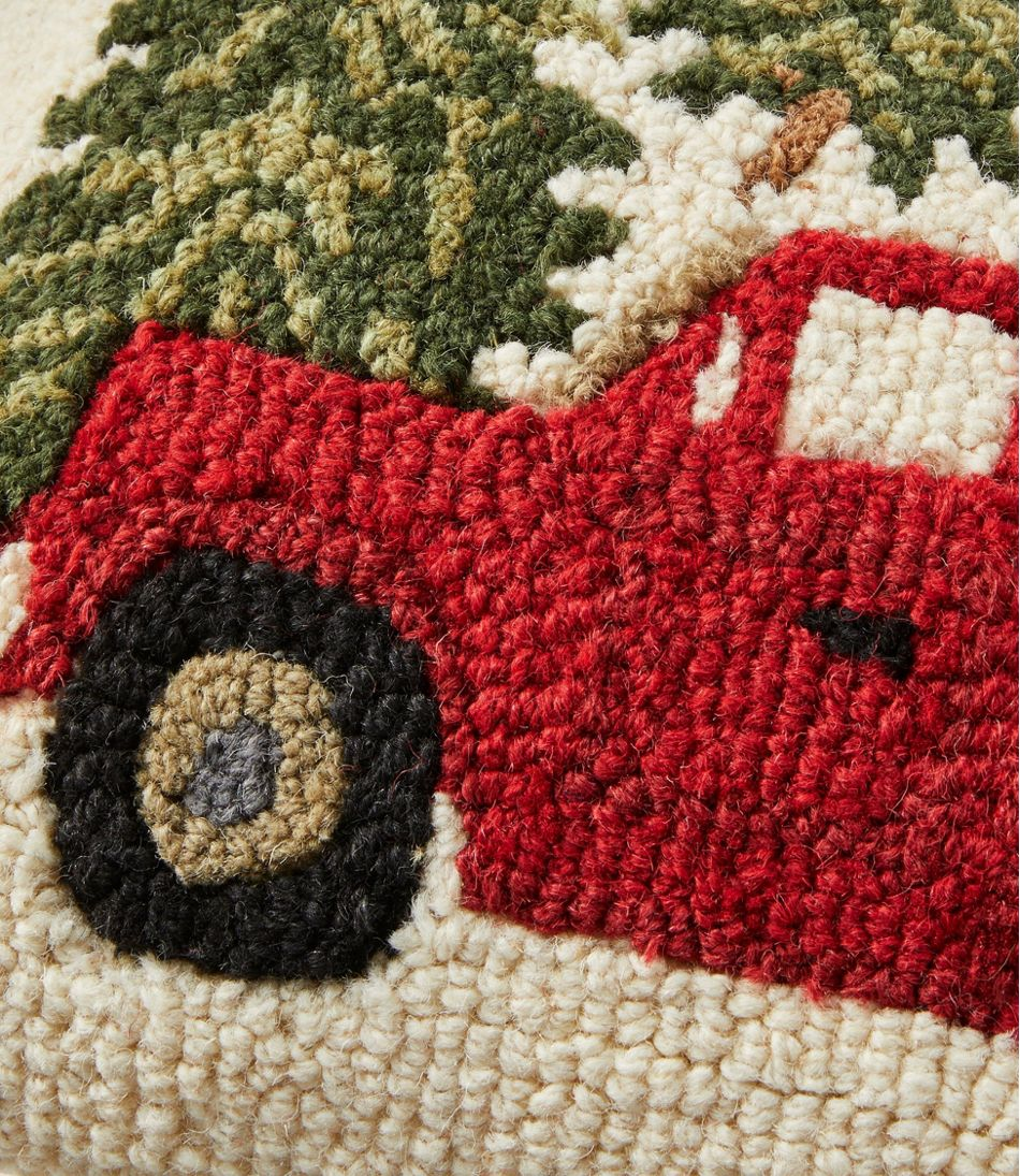 """Wool Hooked Throw Pillow, Red Truck, 14"""" x 20"""""""