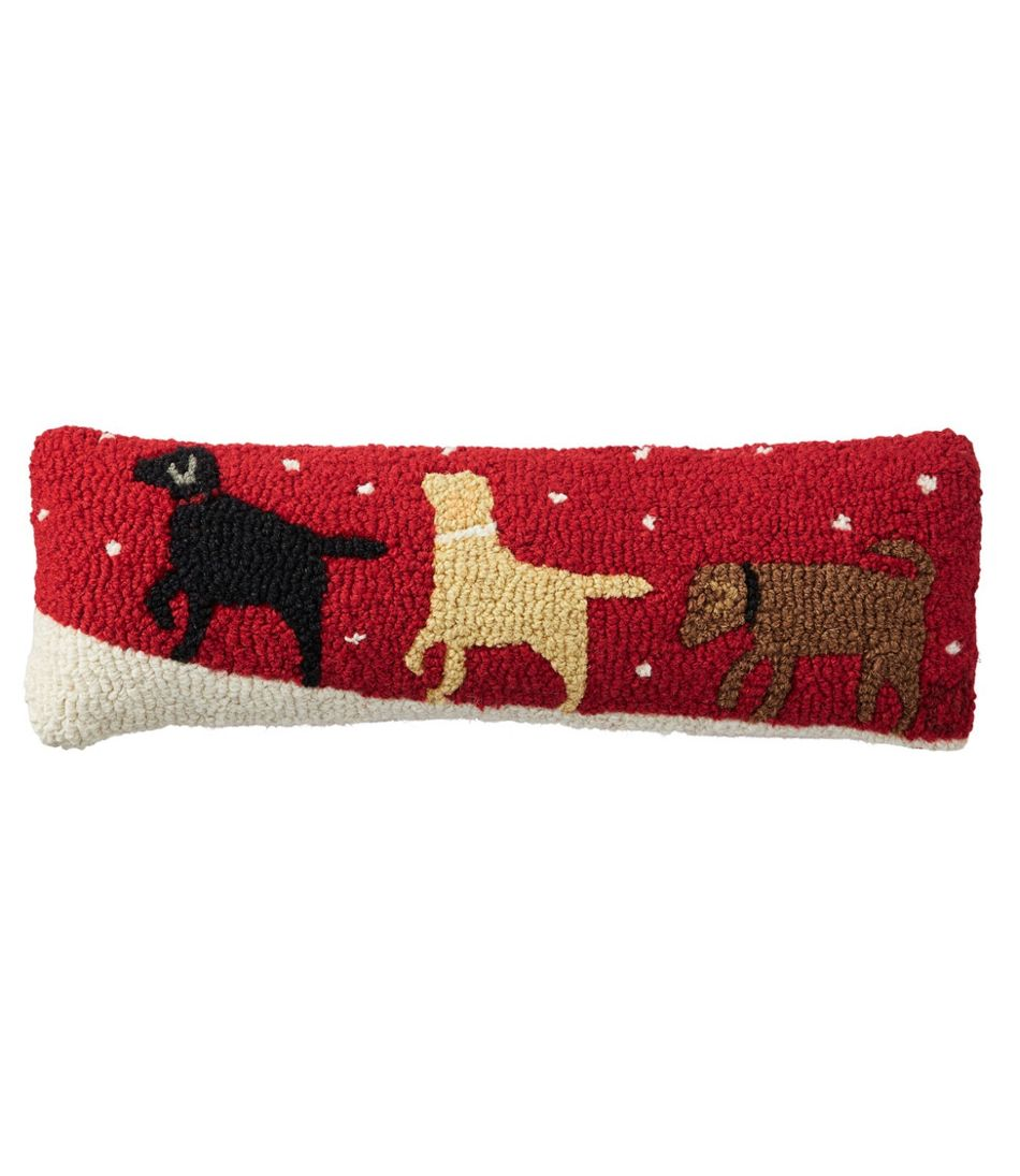 """Wool Hooked Throw Pillow, Labs, 8"""" x 24"""""""