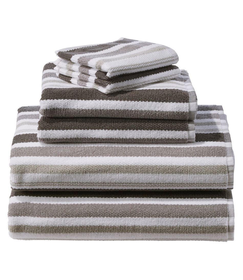 Organic Textured Cotton Towel Set, Stripe