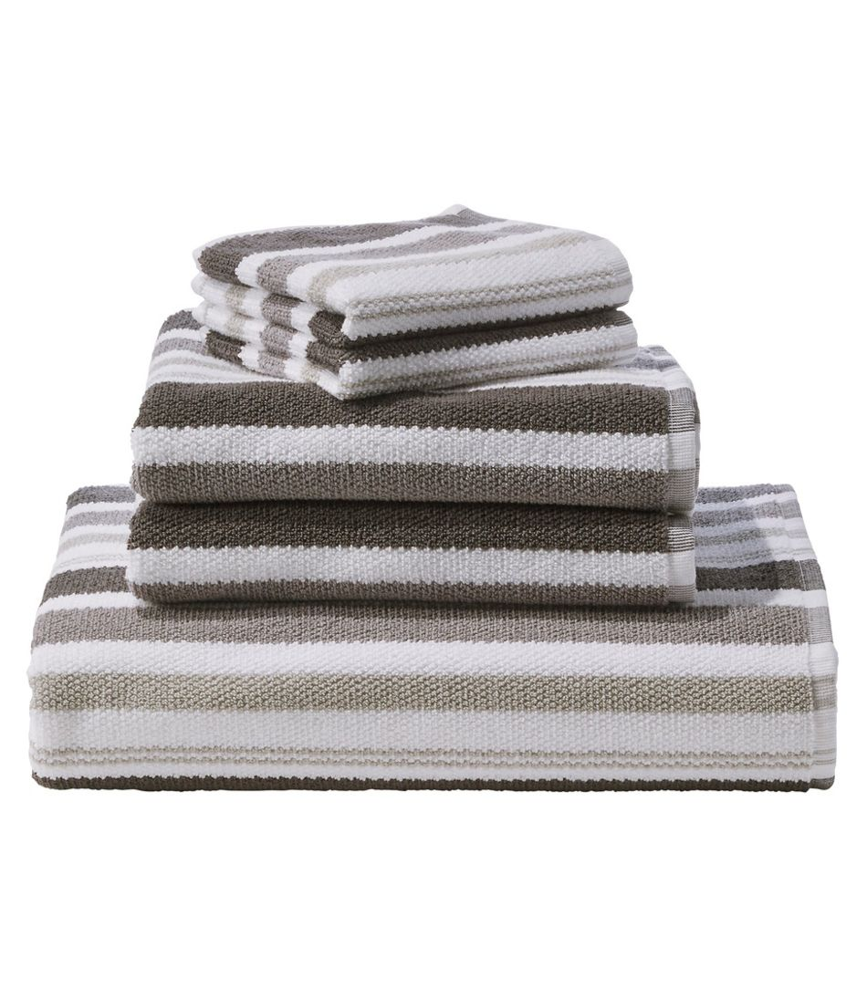 Organic Textured Cotton Towel, Stripe