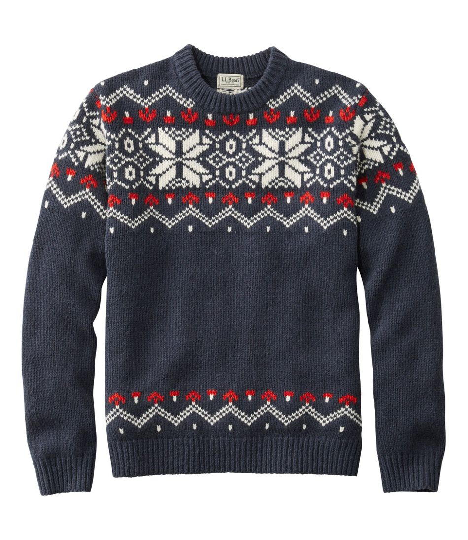 1960s Mens Shirts | 60s Mod Shirts, Hippie Shirts Mens Beans Classic Ragg Wool Sweater Crewneck Fair Isle  AT vintagedancer.com